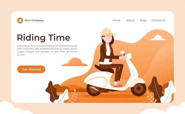 Página de destino de tempo de equitação de scooter