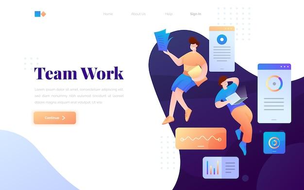 Página de destino de trabalho de equipe moderna