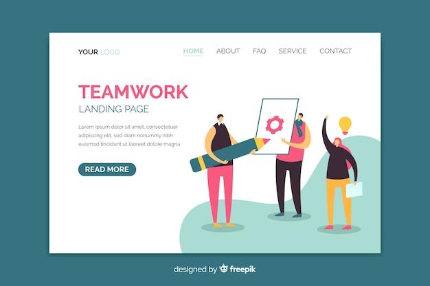 Página de destino de trabalho em equipe com modelo de personagens ilustrados