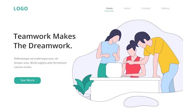 Página de destino de trabalho em equipe design plano moderno