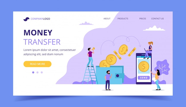 Página de destino de transferência de dinheiro, ilustração do conceito para o envio de dinheiro