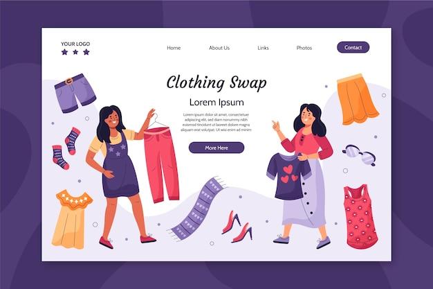 Página de destino de troca de roupas desenhada