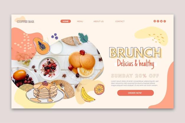 Página de destino de um brunch delicioso e saudável