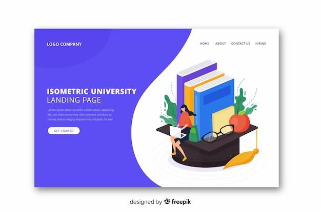 Página de destino de universidade plana