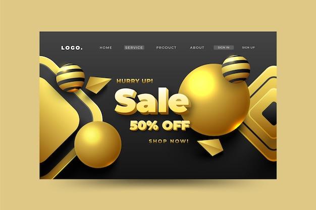 Página de destino de venda 3d dourada realista