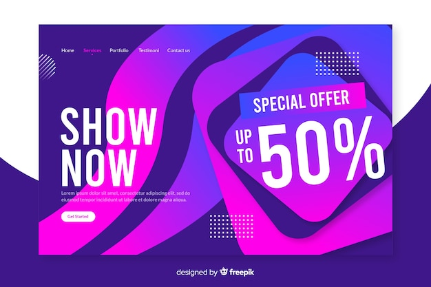 Página de destino de venda abstrata com desconto de 50%