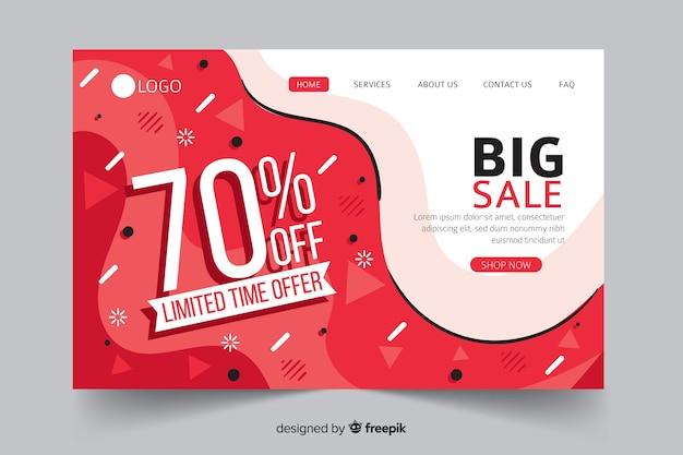 Página de destino de venda abstrata com desconto de 70%