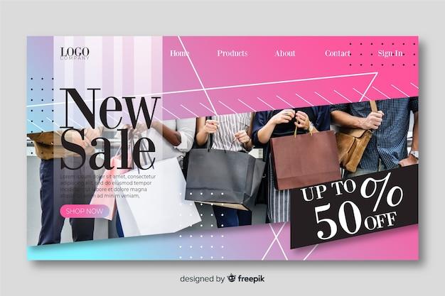 Página de destino de venda com foto