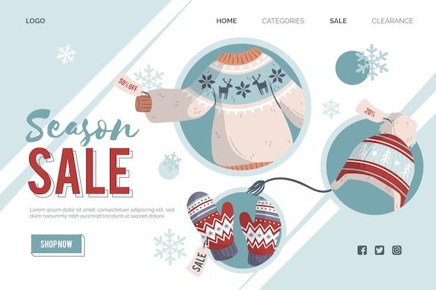 Página de destino de venda de inverno de design plano