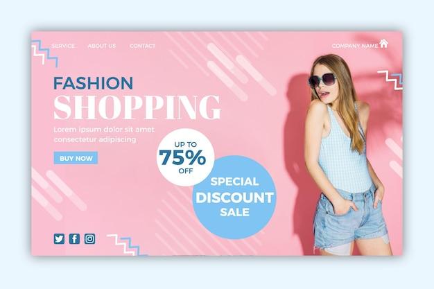 Página de destino de venda de moda com foto