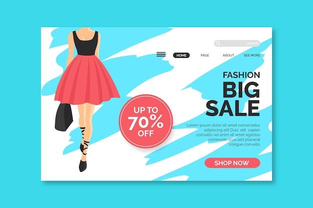 Página de destino de venda de moda com ilustração de mulher
