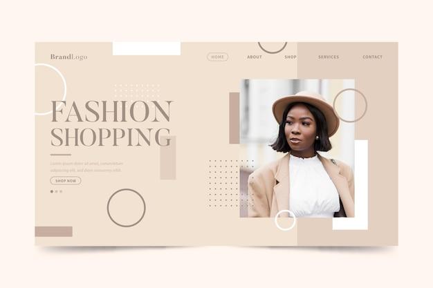 Página de destino de venda de moda com modelo elegante