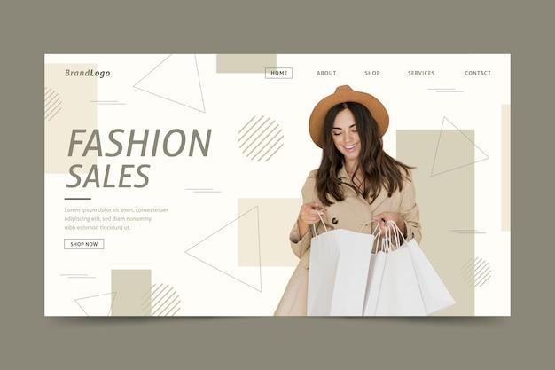 Página de destino de venda de moda de mulher elegante