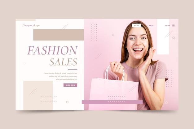 Página de destino de venda de moda mulher bonita