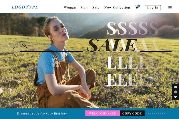 Página de destino de venda de moda web modelo de design