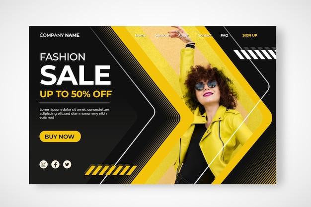 Página de destino de venda de moda
