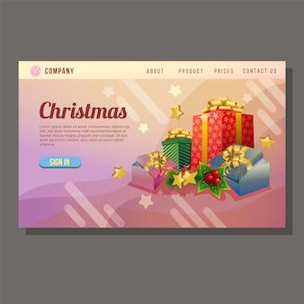 Página de destino de venda de natal colorido caixa de presente