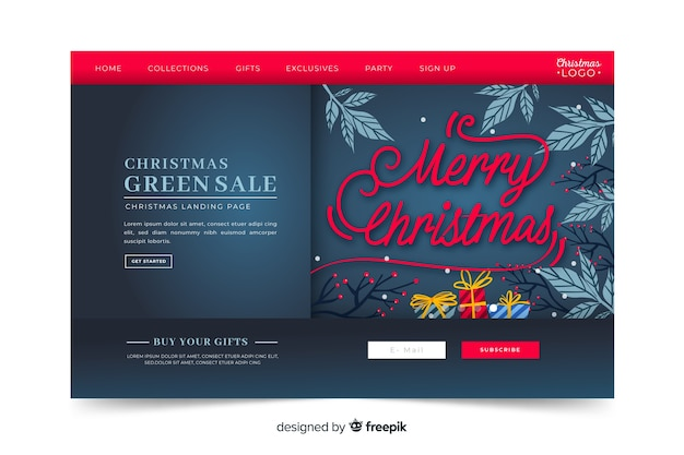 Página de destino de venda de natal mão desenhada estilo