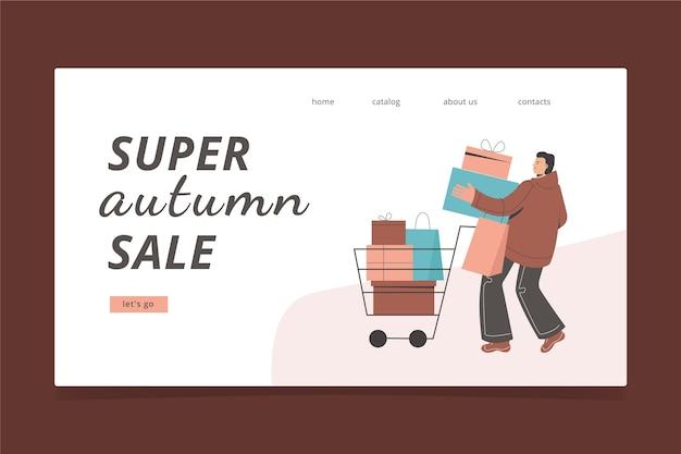 Página de destino de venda de pessoas de outono em design plano