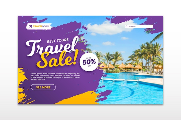 Página de destino de venda de viagens com foto