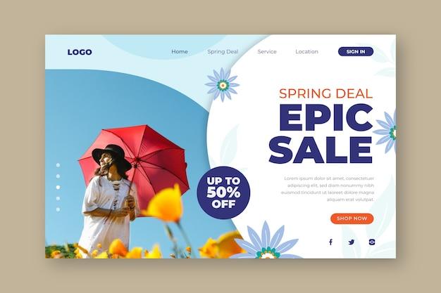 Página de destino de venda épica de acordo de primavera