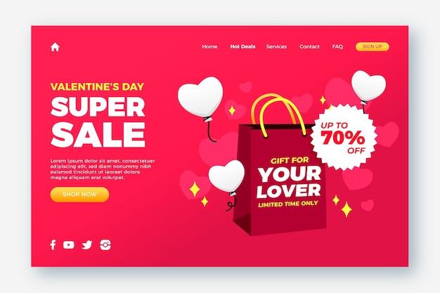 Página de destino de venda para dia dos namorados