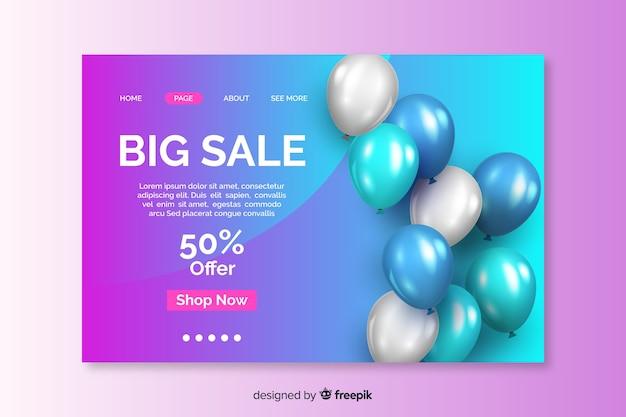 Página de destino de venda realista com balões