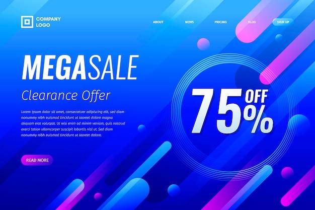 Página de destino de vendas abstrata colorida