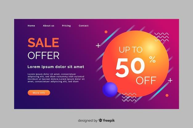 Página de destino de vendas abstrata