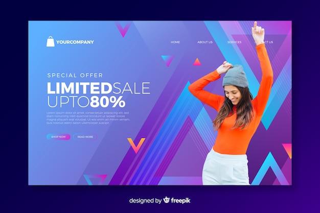 Página de destino de vendas com foto