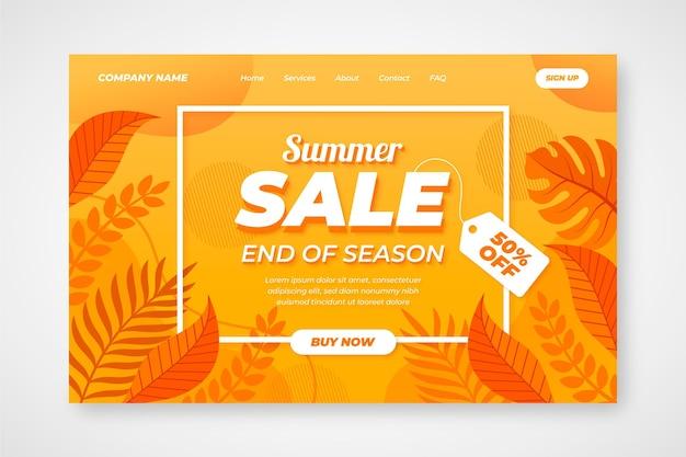 Página de destino de vendas de final de verão