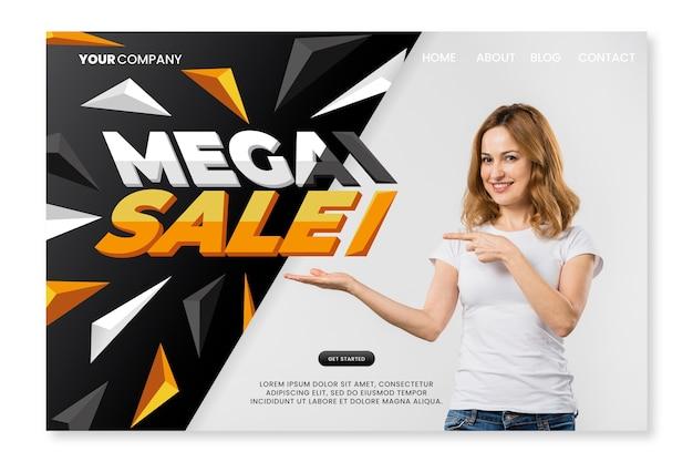 Página de destino de vendas de modelo abstrato