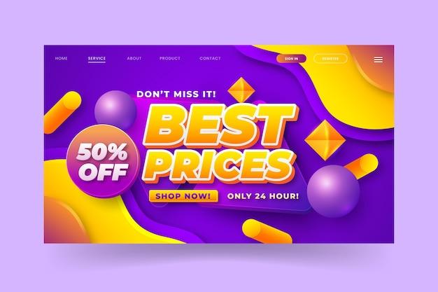 Página de destino de vendas realista
