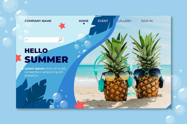 Página de destino de verão de abacaxi usando óculos escuros