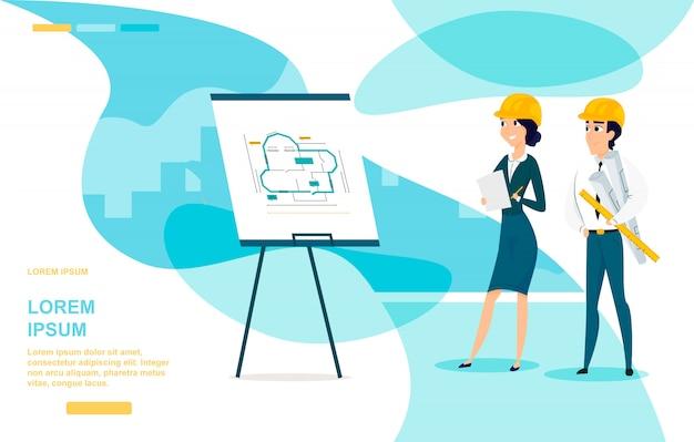 Página de destino de vetor de desenhos animados do arquiteto planejamento
