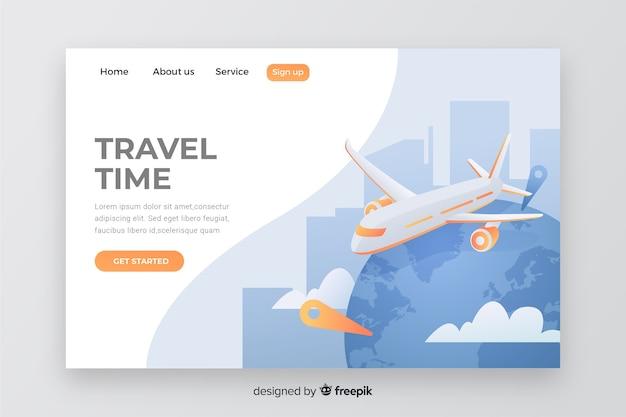 Página de destino de viagem com avião