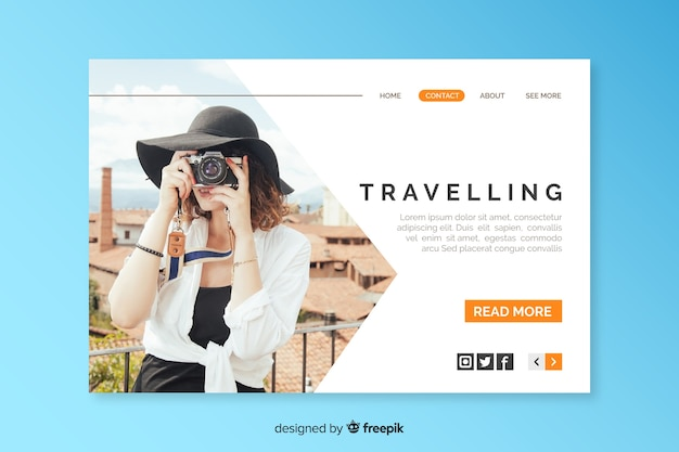Página de destino de viagem com foto