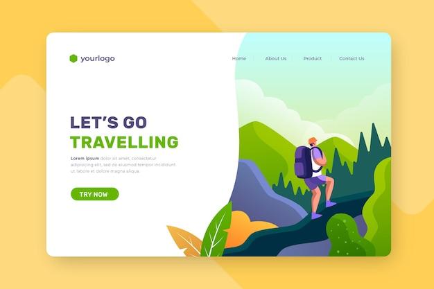 Página de destino de viagem com fundo ilustrado