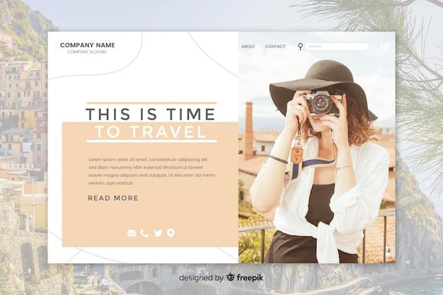 Página de destino de viagem com imagem