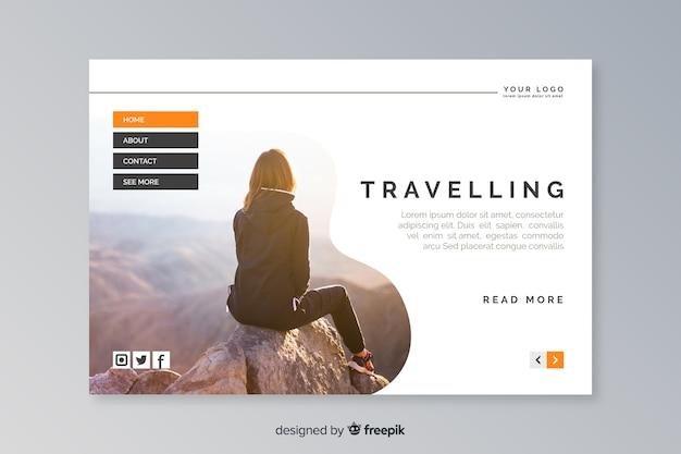 Página de destino de viagem com modelo de foto