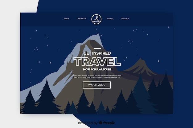 Página de destino de viagem com montanha à noite