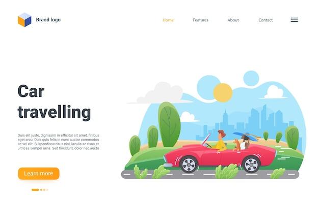 Página de destino de viagem de carro homem mulher viajantes sentados em cabriolet para viajar de carro