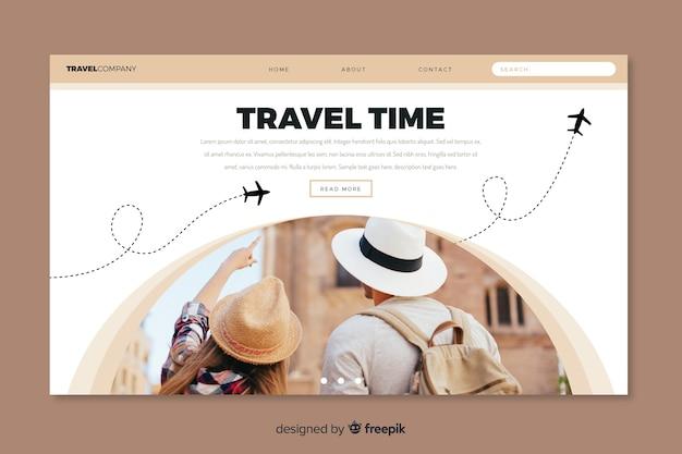 Página de destino de viagem minimalista com foto