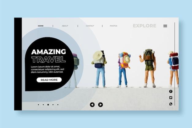 Página de destino de viagem moderna com foto