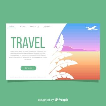 Página de destino de viagem plana