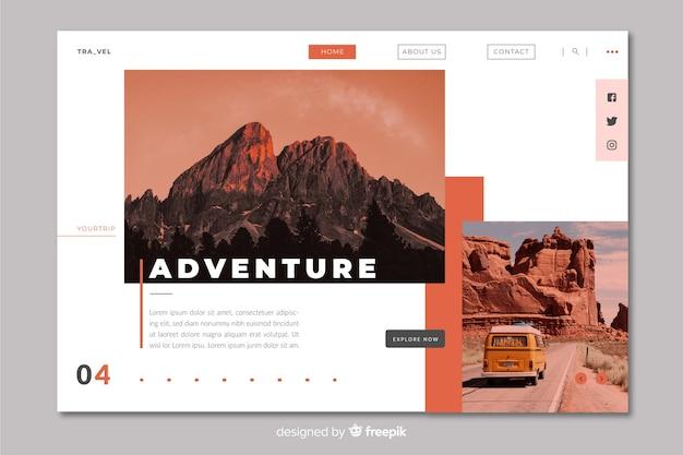 Página de destino de viagens de aventura com foto