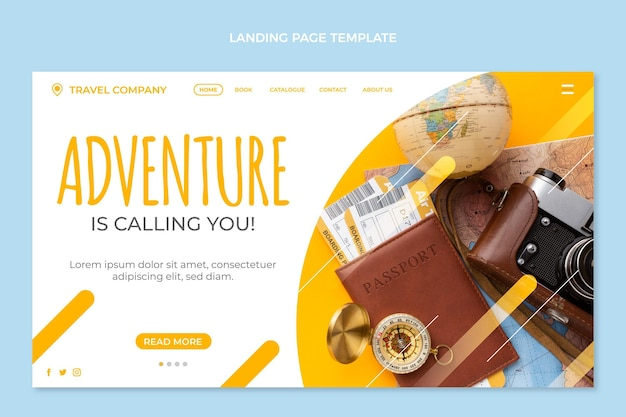 Página de destino de viagens de design plano