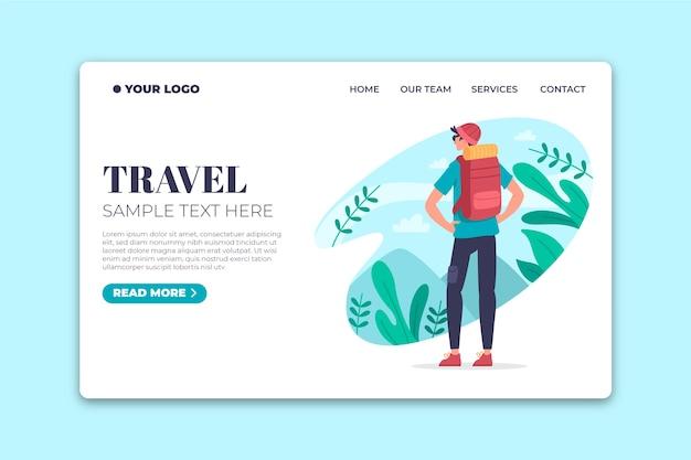Página de destino de viagens de modelo de design plano