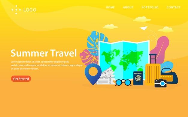 Página de destino de viagens de verão