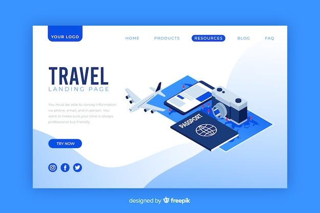Página de destino de viagens isométrica